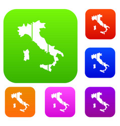 map of italy set collection vector image