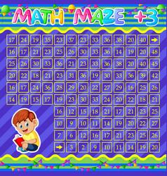 Math maze addition worksheet with cute boy vector
