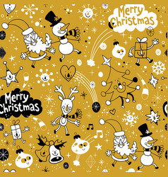 merry christmas holiday seamless pattern vector image