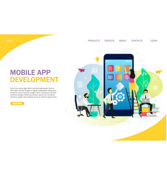 mobile app development landing page website vector image