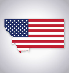 montana mt state map simplified with usa flag vector image