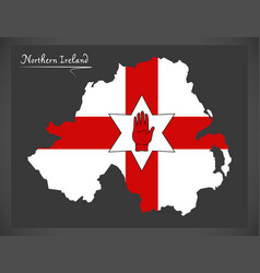 Northern ireland map with ulster banner flag vector