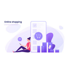 Online shopping mobile marketing concept vector