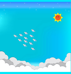 paper craft blue sky sun cloud birds star vector image