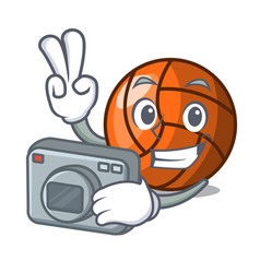photographer volleyball mascot cartoon style vector image