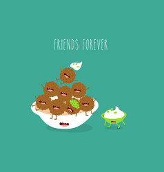 plate with falafel sauce friends forever vector image
