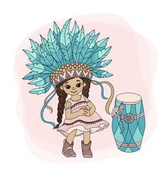 Pocahontas dance indian princess hero vector
