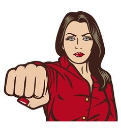Pop art woman punching vector