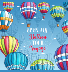 Poster for hot air balloon tour voyage vector