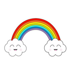Rainbow and two contour clouds smiling face vector
