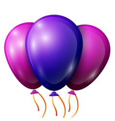 Realistic blue purple balloons with ribbons vector