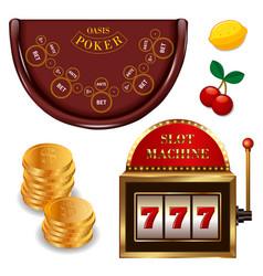 Realistic casino online games set vector