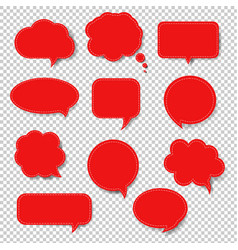 red speech bubble set isolated transparent vector image
