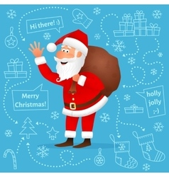 Santa Claus flat character on blue background vector image