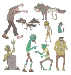Scary zombies outlined stickers vector