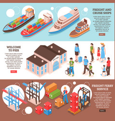 Sea port banners set vector