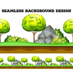 Seamless background design with tree and lawn vector image