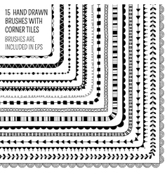 set fifteen hand drawn brushes vector image