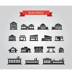 set flat design buildings pictograms vector image