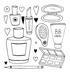 Set of cosmetic doodles collection line vector