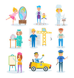 Set of occupations in which children represent vector