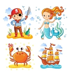 Set of sea and summer vector