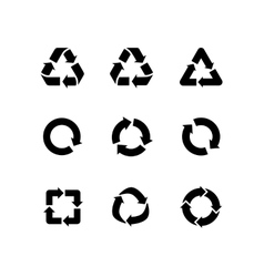 Set signs of recycling arrow icons vector