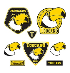 set toucan logotypes vector image