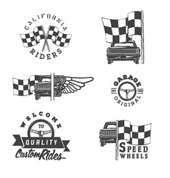 set vintage auto rides labels vector image