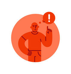 severe man with a raised finger up with vector image