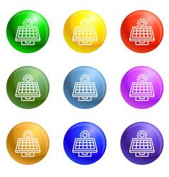 solar panel icons set vector image