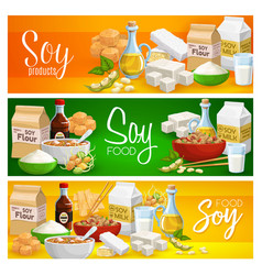 Soy food milk tofu cheese and soya meat products vector