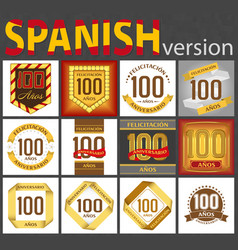Spanish set number 100 templates vector