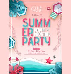 Summer beach cocktail party poster top view vector