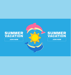 summer vacation flyer template with dolphines and vector image