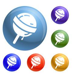 sweet lollipop icons set vector image