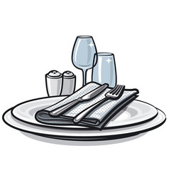 Table setting on table vector