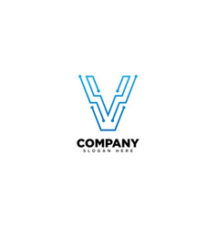 Technology letter v - logo vector