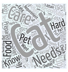 The basic know hows about cat care word cloud vector