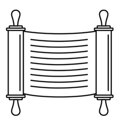 Torah scroll icon outline style vector