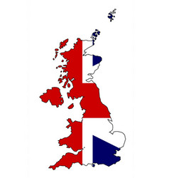 united kingdom map and flag vector image
