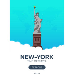 usa new-york time to travel travel poster vector image