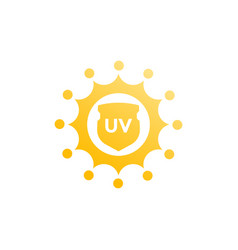 Uv protection sun and shield icon vector