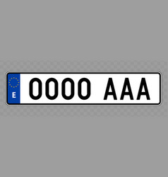 Vehicle number plate vector