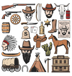 Wild west and western american icons vector