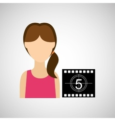 Woman character movie countdown design vector