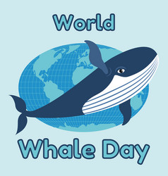 World whale day emblem card or banner cute blue vector