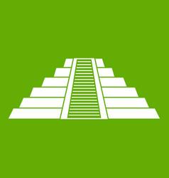 Ziggurat in chichen itza icon green vector