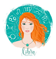 Zodiac signs libra in image of beauty girl vector
