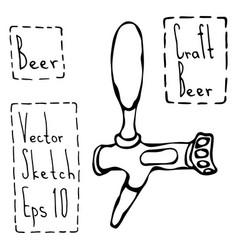 Beer tap doodle style sketch vector